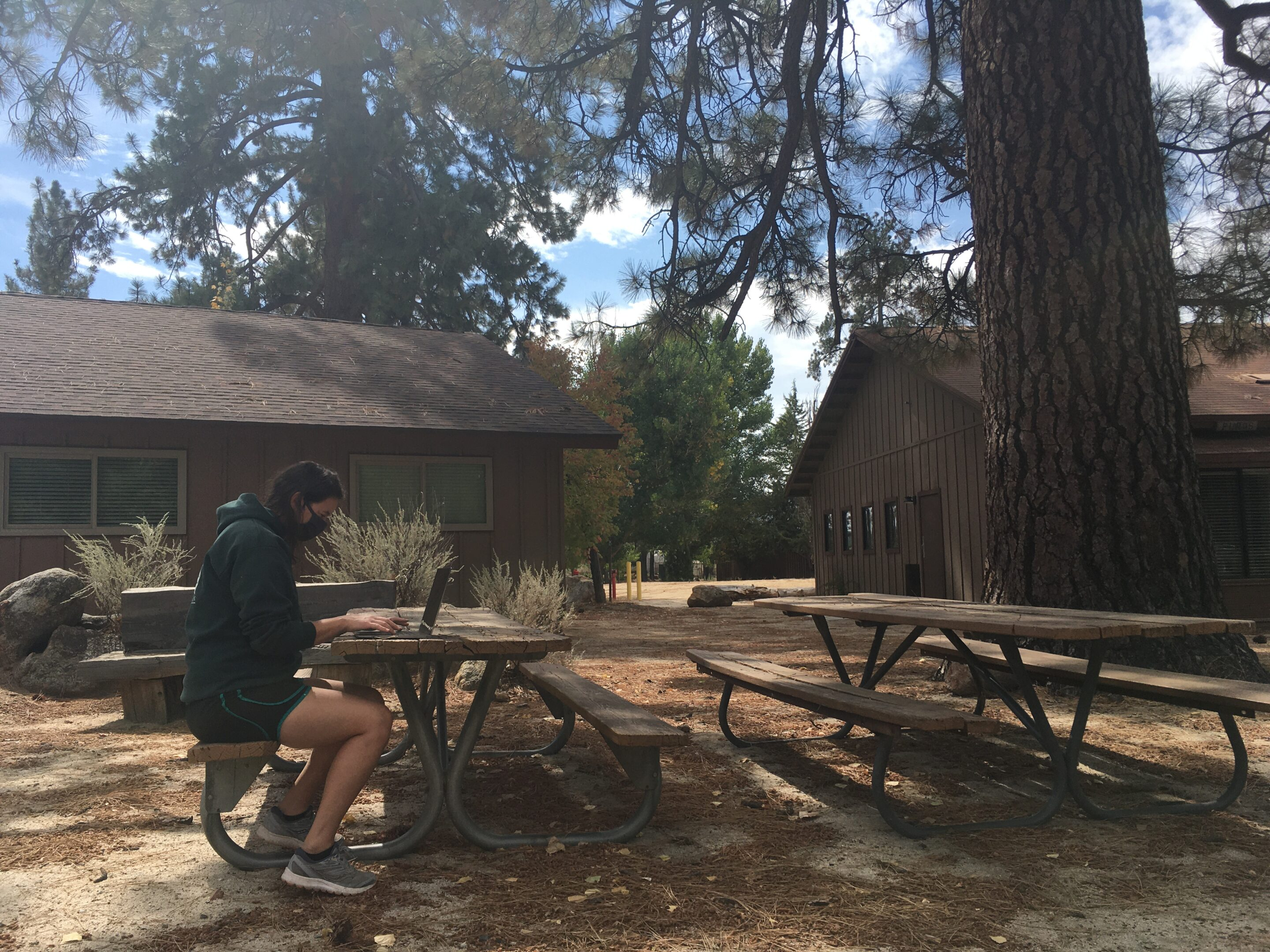 A woman wearing a facemask sits at a picnic table while working on a laptop. In the background are cabins, blue skies and a large pine tree.